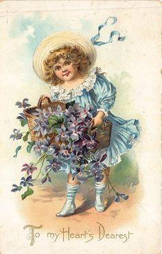 Raphael Tuck Valentine Girl w/ Flowers Yo My Heart's Dearest Postcard #ValentinesDay