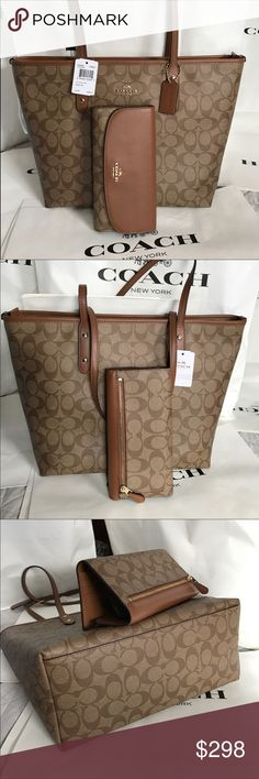 🍀Coach Set🍀 100% Authentic Coach Tote Bag and Checkbook Wallet, both brand new!.😍😍😍 Coach Bags Totes