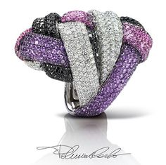 """A precious ball of thread, this is the idea for this ring from """"Intrecci"""" collection whose technical complexity is further enhanced by the different colours of diamonds and sapphires. Masterpiece! @palmiero"""