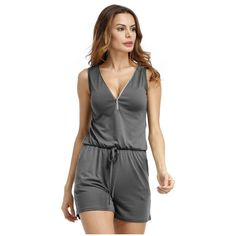 IMC Women's Fashion Summer Deep V-neck Zipper Rompers Jumpsuit Beach Playsuit Sexy Sleeveless Short One Piece Catsuit(Gray,S/U #Affiliate
