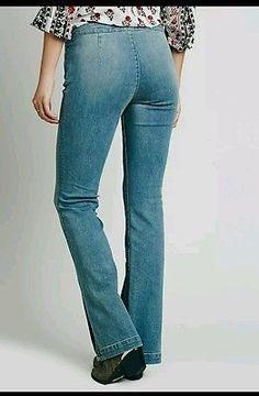NWOT Free People Low Rise Slit Flare Jeans Stretch Denim Sz 28  Hero Wash