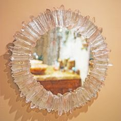 Round Mirror embellished with a frame of over 100 beautiful Brazilian Quartz Crystals. Antiqued finish on mirror. An exquisite, handcrafted, One-of-a-Kind piece. Shop All Quartz Crystal Jewelry Crystals In The Home, Diy Crystals, Black Crystals, Unique Mirrors, Round Mirrors, Vintage Mirrors, Crystal Decor, Crystal Jewelry, Diy Crystal Crafts
