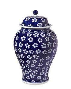 """Blue & White Ginger Jar Lidded Urn, 12""""   Williams-Sonoma"""