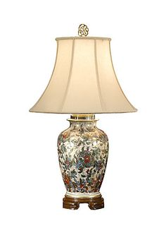 FREDERICK COOPER FLOWERS AND GOLD LAMP