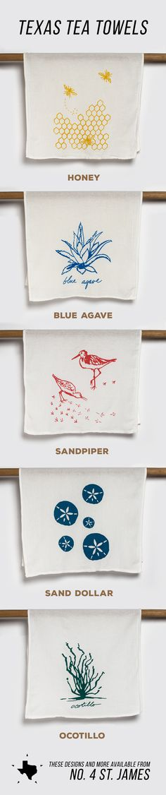Texas Tea Towels  From talented Austin artist and printmaker Carolyn Kimball come these handcrafted tea towels, each one depicting imagery inspired by the natural Texas environment.