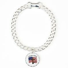 God Bless American With US Flag and Rugged Cross Charm Bracelet, One Charm   •   This design is available on t-shirts, hats, mugs, buttons, key chains and much more   •   Please check out our others designs at: www.cafepress.com/TsForJesus