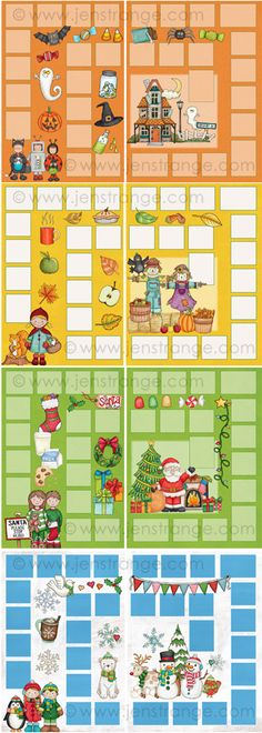 It's time to think about adding some Fall holiday fun to your classroom! Here's a close-up view of the four game boards in my Blank Board Games Fall / Winter Holiday Pack. (assemble as file folder games. each theme comes with matching card files. Kids Group Activities, Spanish Activities, Summer Camp Games, Camping Games, Holiday Pack, Holiday Fun, Diy Yard Games, Wedding Games For Guests, Educational Board Games