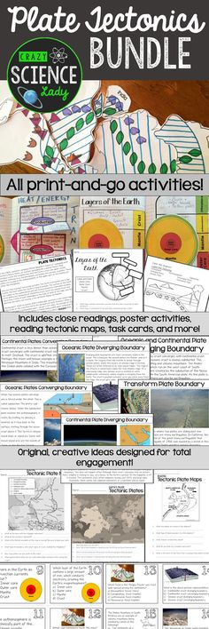 Print-and-go resources for plate tectonics! Lesson plans for 2-3 weeks, no headaches, creative activities!
