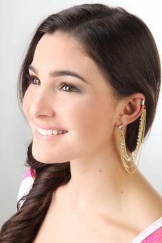 #Gold chain #ear #cuff