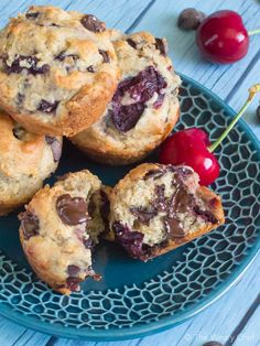Get your day off to a delicious start with these chocolate cherry muffins loaded with sweet cherries and chocolate chips!
