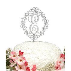 aMonogramArtUnlimited Diamond-Frame Dollar Sign Wooden Cake Topper Color: Silver Glitter