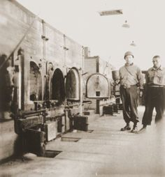An U.S. soldier inspects the crematorium at the Buchenwald Concentration Camp, which was liberated on April 11, 1945 by the 9th Armored Infantry Battalion, from the 6th Armored Division, part of the U.S. Third Army.