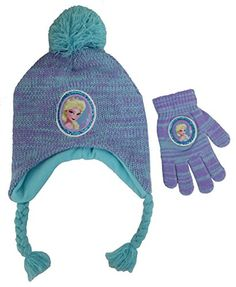4e541957ec0 Disney Frozen Elsa knitted Scandinavian Hat and Glove Set - Size Hat  Featuring  Elsa framed With Sequins Turquoise Pompom. Elsa Glove framed  With Sequins ...