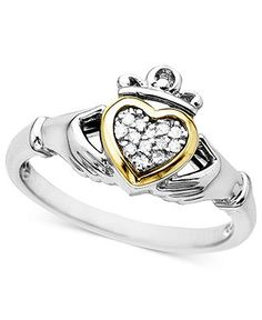 14k Gold and Sterling Silver Ring, Diamond Accent Claddagh - Rings - Jewelry & Watches - Macy's