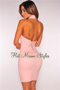 Blush Lace Up Back Halter Dress