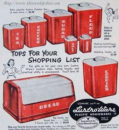Vintage Lustroware. lustro-ware. Plastic canisters, bread box etc.