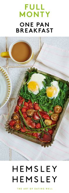 This is the ultimate breakfast, though we'd happily eat it at any time of day. To keep your morning as chilled as possible, get your oven to do all the hard work for you. Place everything in your largest dish, bung in the oven – et voilà! In a matter of minutes (13, to be exact), a delicious meal awaits. For the avo fans among you, chop up some avocado and add on top when it's cooked.