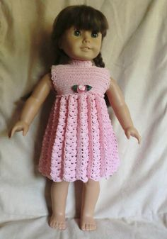 "Crochet Pattern for a Empire Waist Dress for American Girl 18"" Doll;  by barbsdolls. Cute inspiration!"