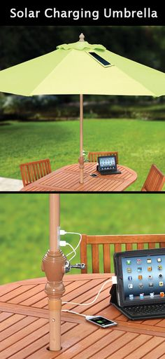 The Solar Charging Umbrella will let you stay longer in the garden... and charge your devices! www.MyWonderList.com