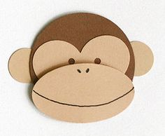 Monkey Face Craft - Construction paper (two colors) - Shapes (use Microsoft Autoshapes): small circle (ears; 2 each monkey), large circle (head), heart (eyes), oval (mouth) - Popsicle stick (optional - to make into holdable 'mask')
