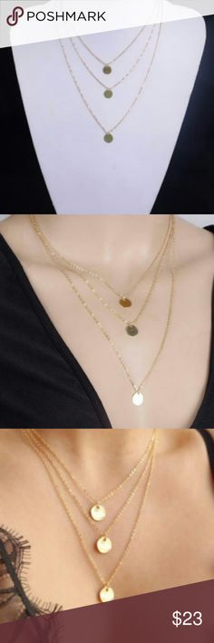 Triple Layer Gold Tone Delicate Necklace This beautiful gold tone necklace is brand new and comes in a gift box.  My home is smoke-free and pet free.  Check out other items in my closet and the discount.  I consider all offers.  Happy POSHING! Jewelry Necklaces