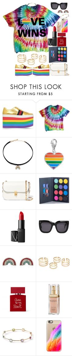 """""""Miami Beach Gay Pride Outfit #2"""" by saav003 ❤ liked on Polyvore featuring Gucci, Forever 21, Personal Charm, Valentino, NARS Cosmetics, STELLA McCARTNEY, Marc Jacobs, Bella Freud, Elizabeth Arden and Ippolita"""