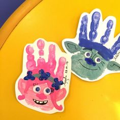 Super pleased with these! - Poppy & Branch Trolls handprint c Daycare Crafts, Baby Crafts, Toddler Crafts, Preschool Crafts, Fun Crafts, Crafts For Kids, Daycare Rooms, Toddler Art, Trolls Birthday Party