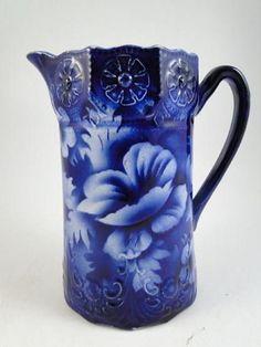 "Antique Flow Blue English Water Milk Pitcher Stoneware Daisy Flower 6.5"" Tall"