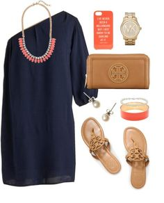 Love. Tory Burch sandals and clutch. Brown / tan leather flip flops. Jewelry. Navy dress. Three-quarter sleeve. Gold watch. Bangle. Coral. Necklace.