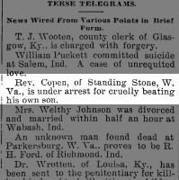 Rev Copen of Standing Stone WV arrested for beating his son 1893