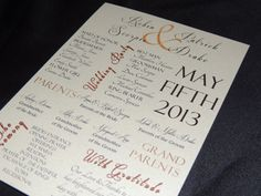 Unique Wedding Program  Contemporary  by MagicBeyondMidnight, $50.00.  Modern look with traditional fonts