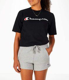 Vorderansicht des Champion Heritage HBR-T-Shirts für Damen in Schwarz Teen Girl Outfits, Short Outfits, Outfits For Teens, Cute Outfits, Champion Hoodie Women, T Shirt Champion, Tee Shirt Ado, Champion Clothing, T Shirts For Women