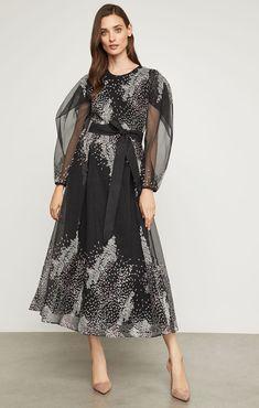 6c8b833486 Embroidered Organza Midi Dress Sheer Dress