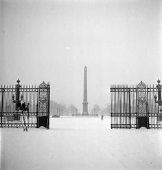 Place de la Concorde with snow Paris by Marcel Bovis