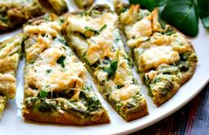 roasted garlic & pesto chicken flatbread - takes just minutes to throw together!