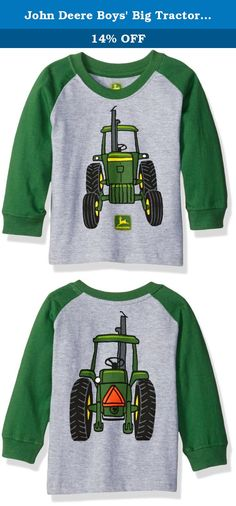 John Deere Boys' Big Tractor Tee, Grey/Green, 12 Months. Boys long sleeve tee featuring tractor and script print graphic.