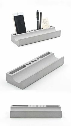 Phone Holder Pen Pencil Holder Concrete Desktop Organizer