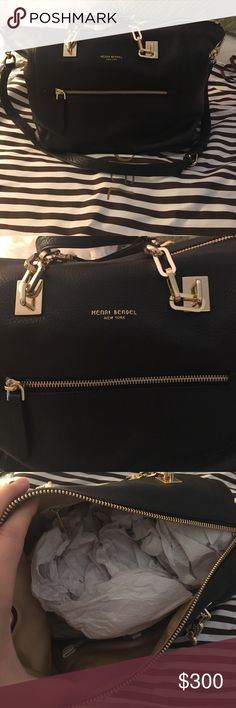 Henri Bendel Crosby Zip Satchel BRAND NEW CONDITION! Real black leather, with gold hardware and gold interior. 4 Pockets on inside and 1 on outside. henri bendel Bags Satchels