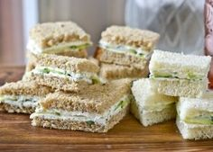 The Barefoot Contessa's Herbed Goat Cheese & Cucumber Sandwiches: perfect for finger sandwiches at a bridal/baby shower or in croissants for a brunch. Tip: these are even better made ahead so the flavors can develop. (recipes for brunch baby shower) Mini Sandwiches, Goat Cheese Sandwiches, Cucumber Sandwiches, Finger Sandwiches, Cucumber Bites, Appetizers For Party, Appetizer Recipes, Tea Recipes, Cooking Recipes