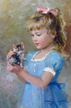 Kai Fine Art is an art website, shows painting and illustration works all over the world. Vintage Illustration, Russian Art, Fine Art, Beautiful Children, Beautiful Paintings, Belle Photo, Cat Art, Painting & Drawing, Vintage Art