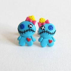 Lilo and Stitch Costume, Voo Doo Doll, Voodoo Doll Earrings, Voodoo Earrings, Halloween Earrings, Halloween Jewelry, Fimo Halloween Costume