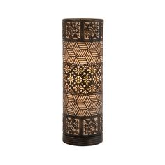 Get an on-trend look with a minimum of fuss. This sleek cylindrical lamp matches the patterns for you for a playful touch and will light your room with the flickering warmth of a candle. Its bronze-toned shade gives it a traditional look that blends well with both classic and trendy room styles.