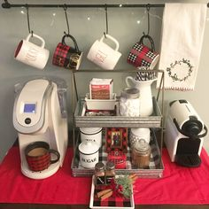 I've got my coffee in hand.I've got my shopping done. Wishful thinking for a split second. 😋Trying to take small moments to enjoy this wonderful time of year. Coffee Nook, Coffee Corner, Coffee Bars, Cafe Bar, Hot Coco Bar, Cocoa Bar, Tiered Stand, Drink Table, Small Moments