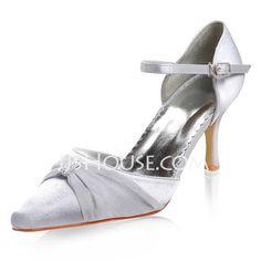 Women's Satin Stiletto Heel Closed Toe With Buckle Rhinestone (047011835)