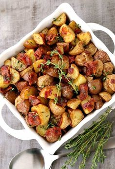 Try these Crispy Oven Roasted Bacon Potatoes as a side dish for any dinner! These potatoes are oven roasted until crispy then tossed in a warm bacon dressing!