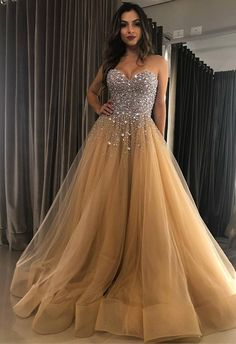 Sweetheart Tulle Long Prom Dress with Beading Fashion School Sweetheart A line Beaded Tulle Long Custom Evening Prom Dresses · Friday Dresses · Online Store Powered by Storenvy Strapless Prom Dresses, Ball Gowns Prom, Tulle Prom Dress, Lace Evening Dresses, Quinceanera Dresses, Ball Dresses, Sweet 16 Dresses, Sweet Dress, School Dance Dresses