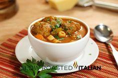 Italian Meatball Soup - Ready in 30 Minutes #soup #recipe #Italian #30minutemeals