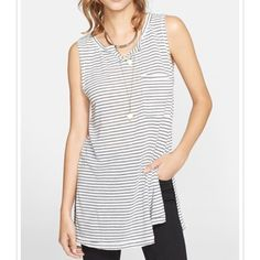 """NWT Free People """"Weekend Warrior"""" Striped Tank top Brand new with tags. Black and white striped tank top. Has one breast pocket. 64% polyester 20% cotton 16% linen Free People Tops Tank Tops"""