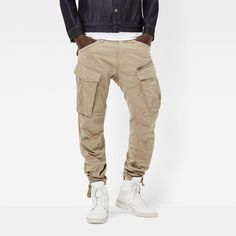 Rovic Zip Tapered Pants by G Star > Zip/button duo fastening > Tapered style > Baggy fit > 8 pockets > 5 belt loops > Drawstring cuff > Machine washable > Shell: Elastane Large Men Fashion, Fashion Brand, Mens Fashion, Fashion Outfits, Guy Outfits, Guy Fashion, Retro Outfits, Cargo Pants Outfit, Cargo Pants Men