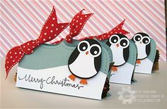 Image Detail for - Crafty Girl Designs: Christmas Treats- Penguin Style! Christmas Gift Tags, Xmas Cards, Holiday Cards, Valentine Cards, Christmas Candy, Gift Cards, Merry Christmas, Tarjetas Stampin Up, Stampin Up Cards